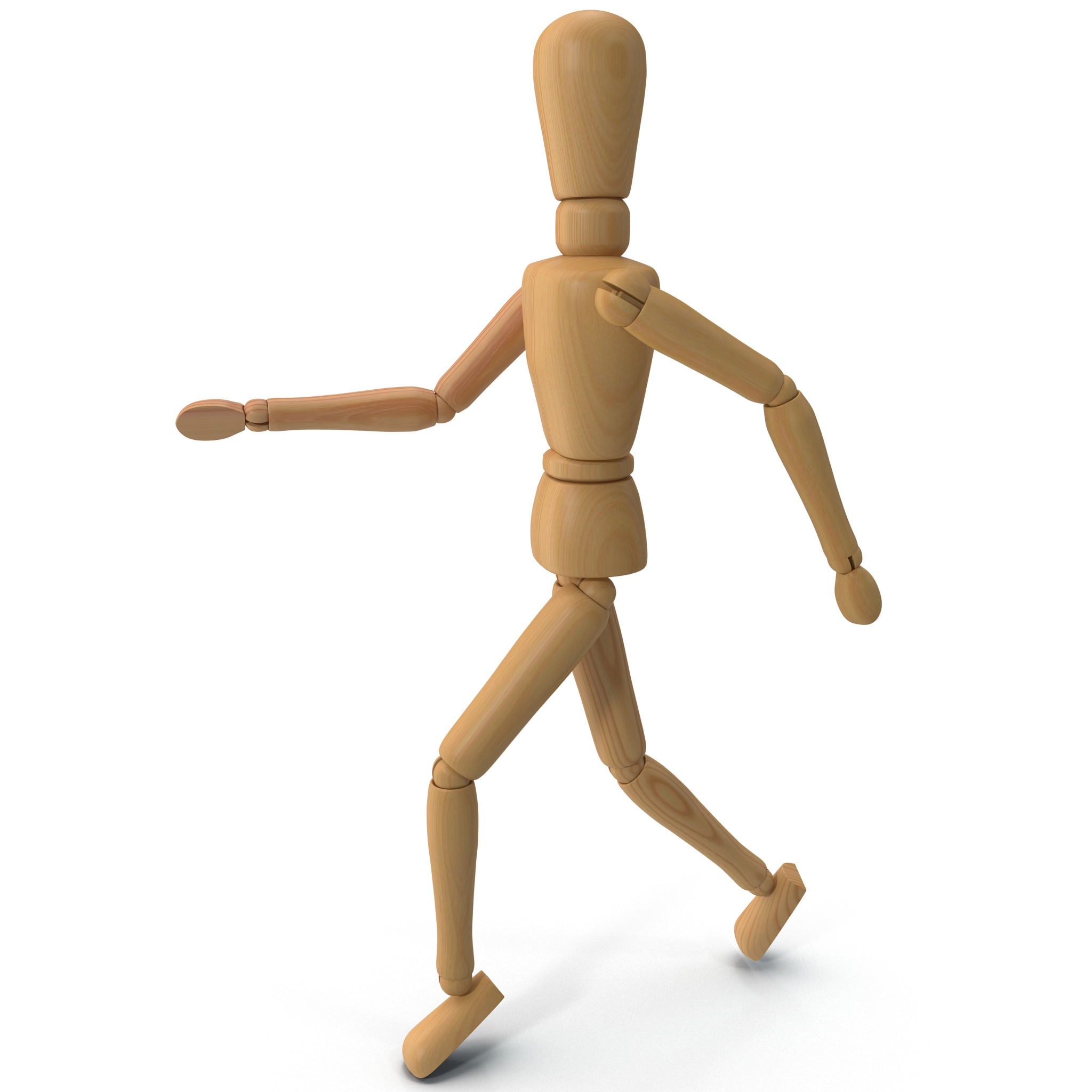 3d model wooden mannequin running