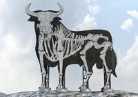 3d model of bull billboard landmark graffiti