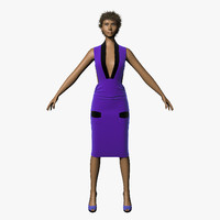 3d model hair character dress