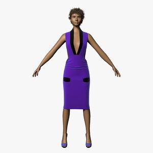 3d model hair character dress