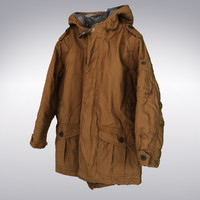 Weatherproof Coat With Hood Orange - 3D Scanned