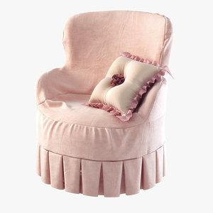 3d model girls armchair ferretti
