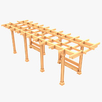 wooden pergola 01 wood 3d 3ds