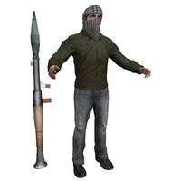 terrorist man 3d model