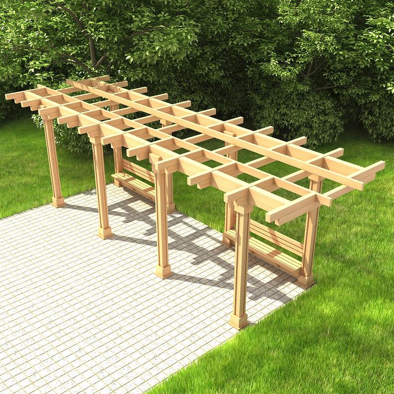wooden pergola 01 wood 3d 3ds