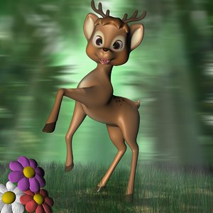 3dsmax cartoon deer rigged
