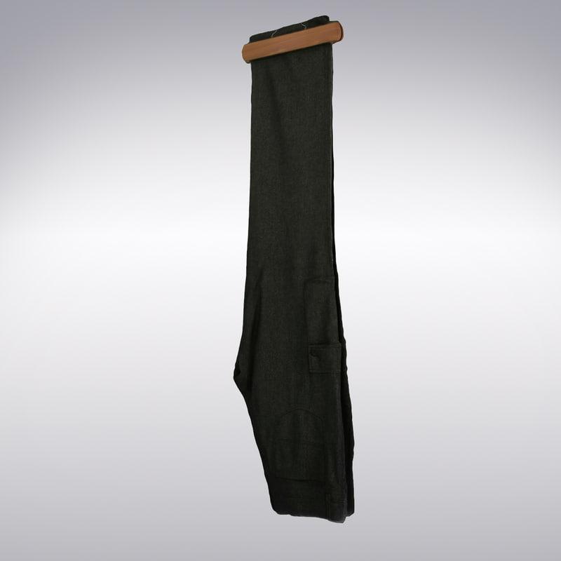 3d men s pants dark gray model