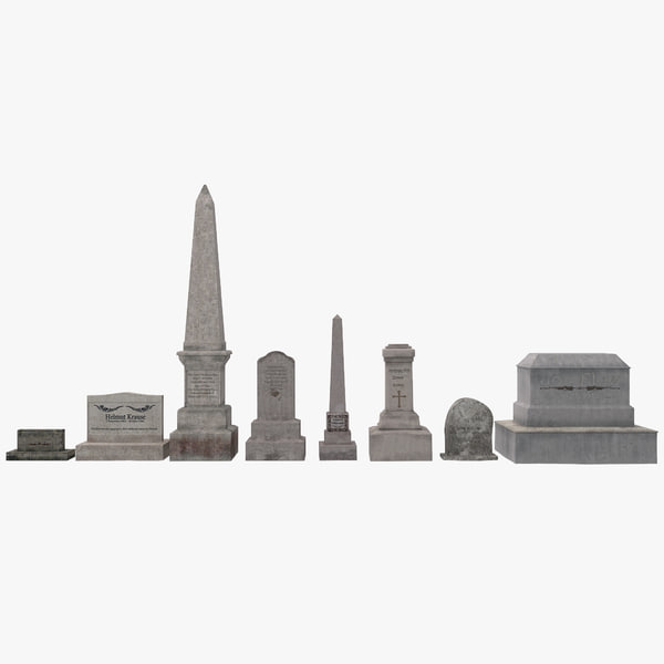 cemetery graves set 3d model
