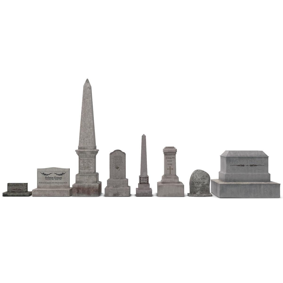 cemetery graves set 3d model