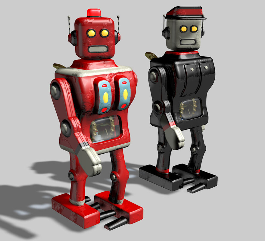 3d model toy clockwork robots animation