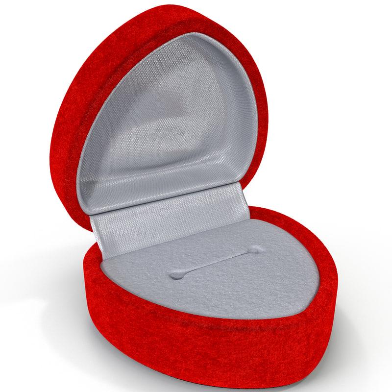 3d model red velvet heart ring