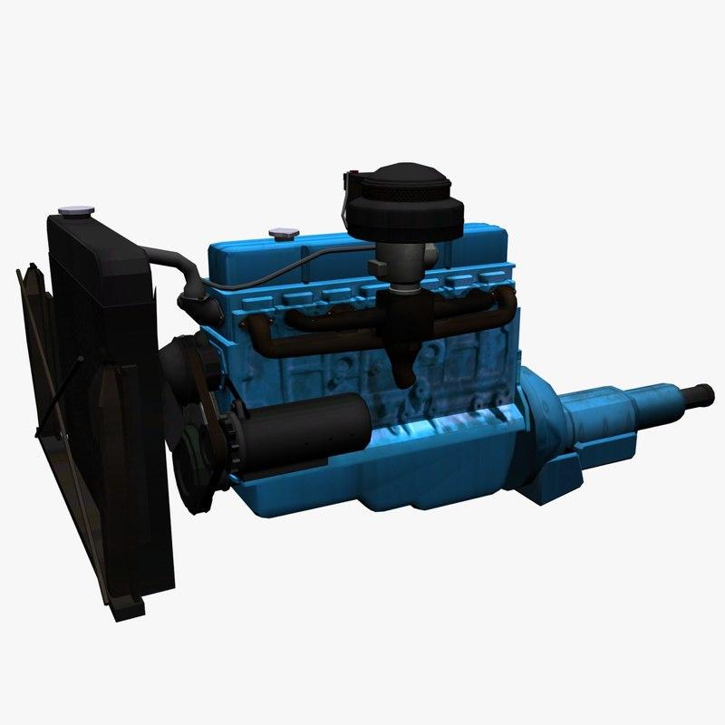 low-poly car engine 3d model