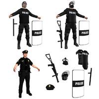 3d police officers pack model