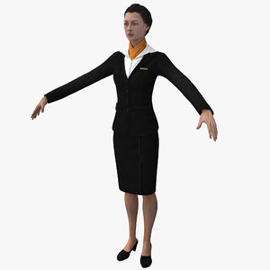 female flight attendant 3ds