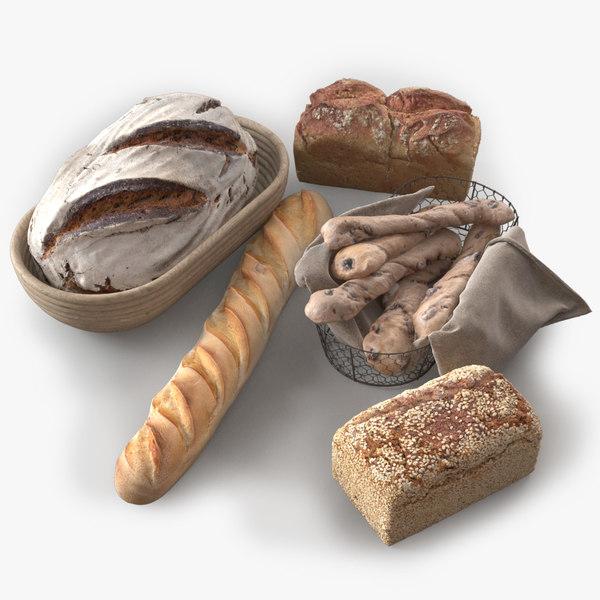 photorealistic bread 2 assets 3d max