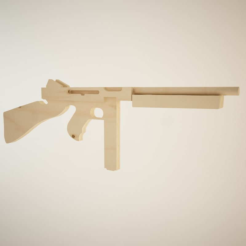 3d model wooden thompson toy gun