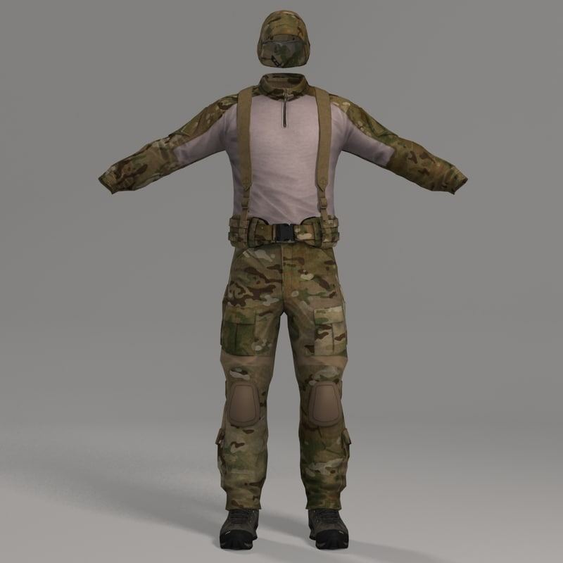 3ds max combat apparel headwear multicam