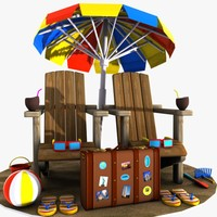 cartoon items beach 3d model