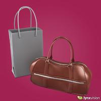 woman brown leather handbag 3d max