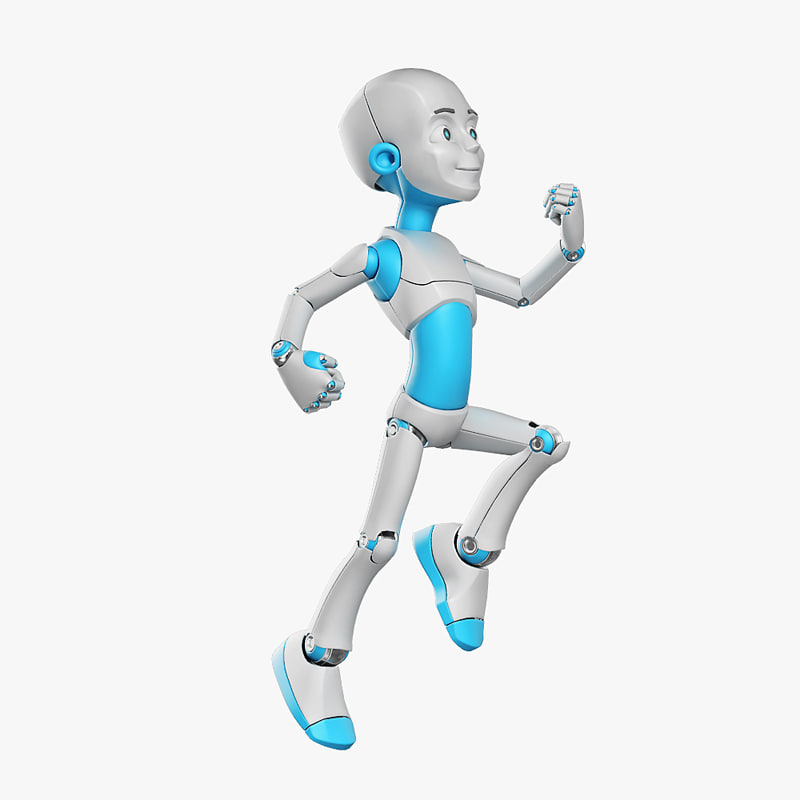 young robot character 3d max