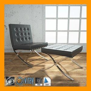 3d barcelona chair ottoman