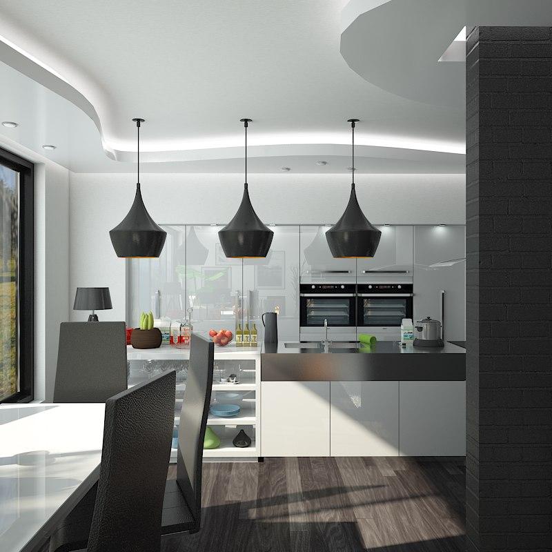interior scene kitchen dining max