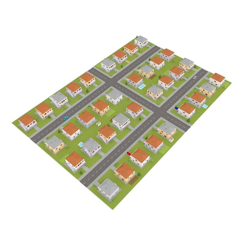 3d model of tileable suburb block