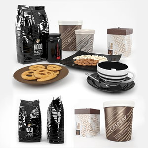 cookies coffee nuts 3d max