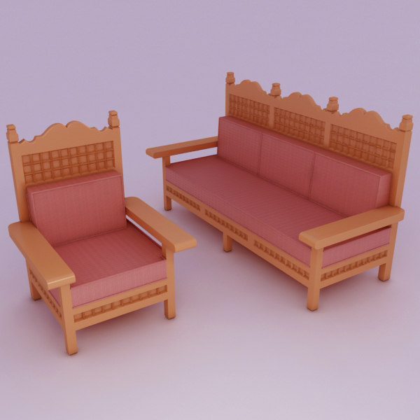 3d sofa rustic chair model