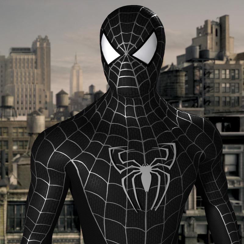 3d black spider man model