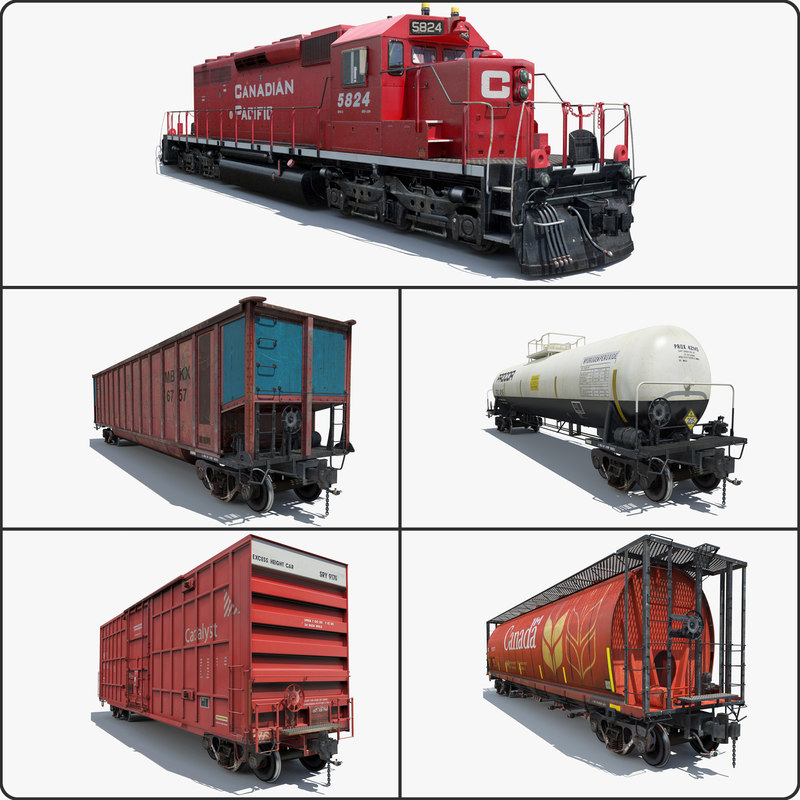 3d max cargo train locomotive cars