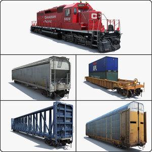 cargo train cars 2 3d obj