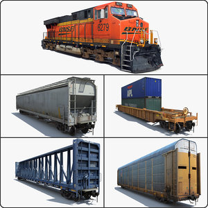 3d cargo train locomotive cars