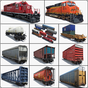 freight train cargo cars 3d model