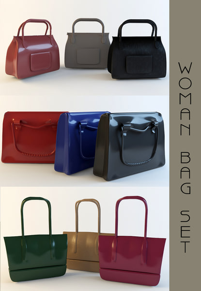 3d woman bag set