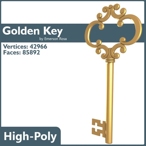 key golden gold 3d model