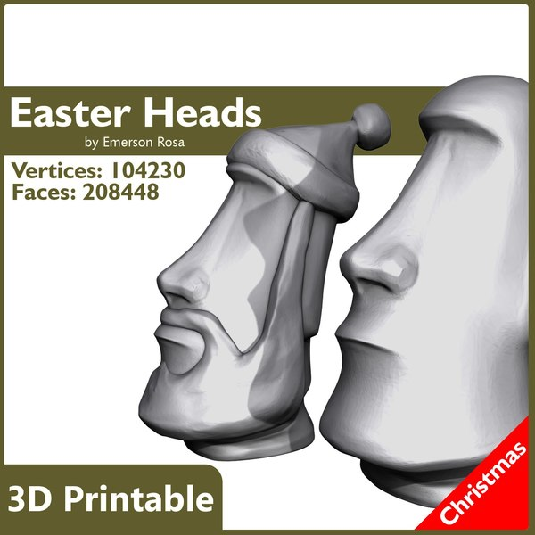 3d model printable heads easter island