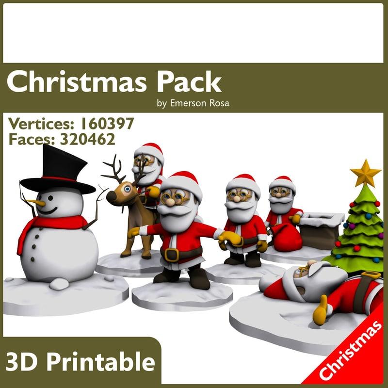 obj cartoon christmas printing