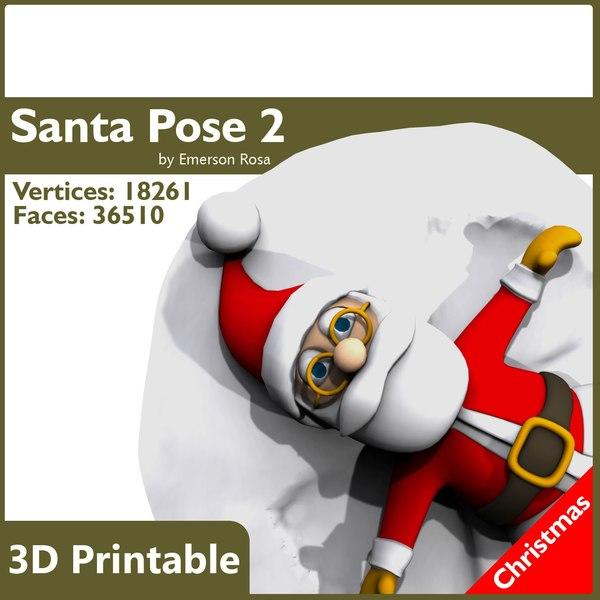 obj santa print-ready christmas