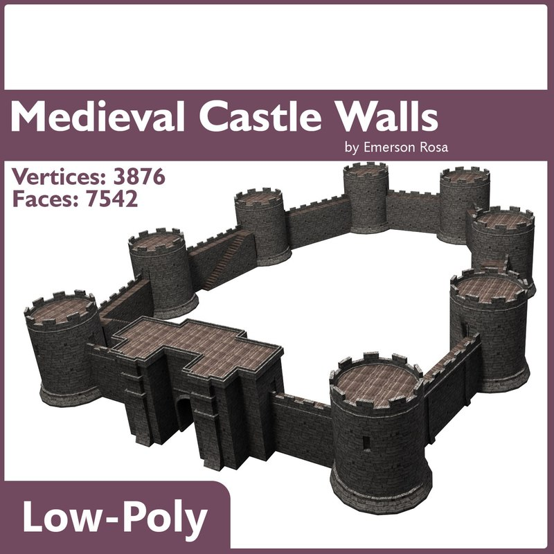 low-poly medieval 3d model