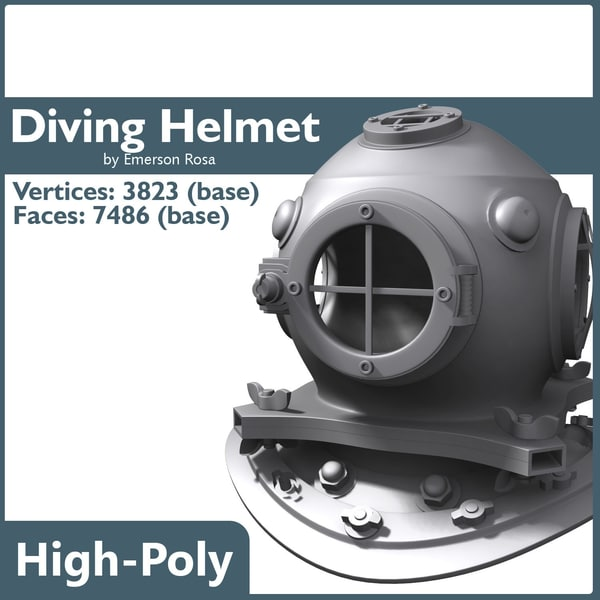 3d old diving helmet model