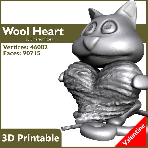 obj cat wool heart