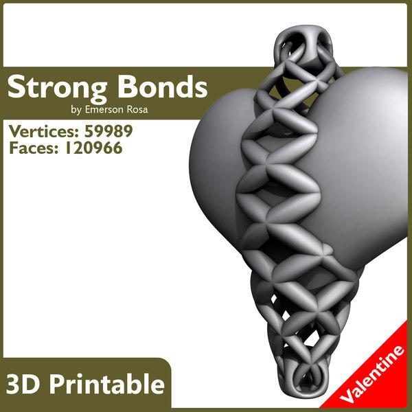 Valentine 3D Printable - Strong Bonds Pendant