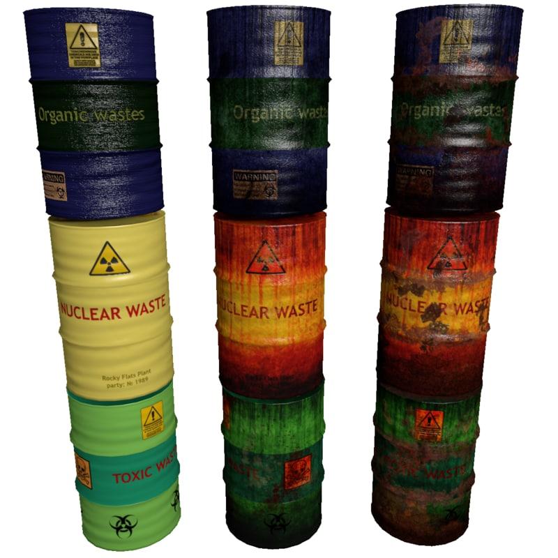 3ds max set waste barrels