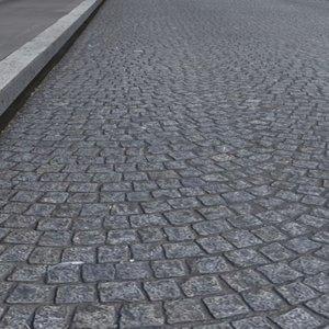 High Resolution Cobblestones Street and Sidewalk Texture 2-Lanes
