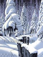 Snow Scene with Fence / S-001