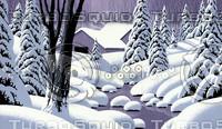 Snow Scene with Barn / SN-114