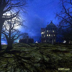 Halloween-dark-forest-mansion-wallpaper-2