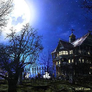Halloween-dark-forest-mansion-wallpaper-3