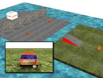 Design a 3D level for a driving game